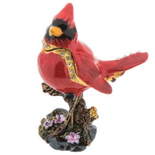 Trinket Box Cardinal on Tree Stump Jewelry
