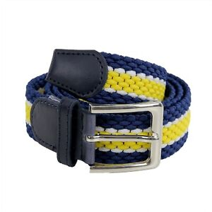 Cintura-Uomo-Elastica-Blu-Giallo-Intrecciata-Cinta-Elegante-Elasticizzata-Stretc