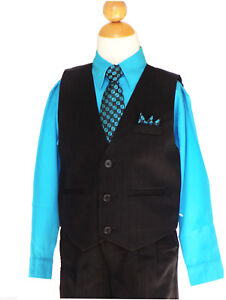 2T to 14 Graduation Wedding Vest Suit Set,Black//Turquoise,Sz: Boys Recital