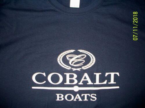 Cobalt Boats Screen Printed Navy Long Sleeve T-Shirt Heavy 100/% Cotton