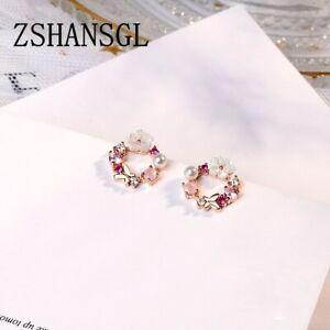 Ohrringe-Ohrstecker-925-Silber-rosegold-Kranz-Blume-Perle-Strass-rosa-pink-NEU