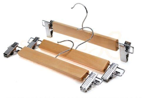 5pcs Men Women Pants Trousers  Wood Holder Hanger Hook Rack Closet Organizer