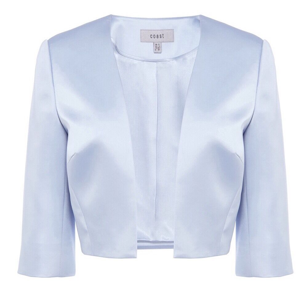 Brand New Coast Size 18 Sunnitta Cover Up Jacket In Pale Blue Pastel RRP