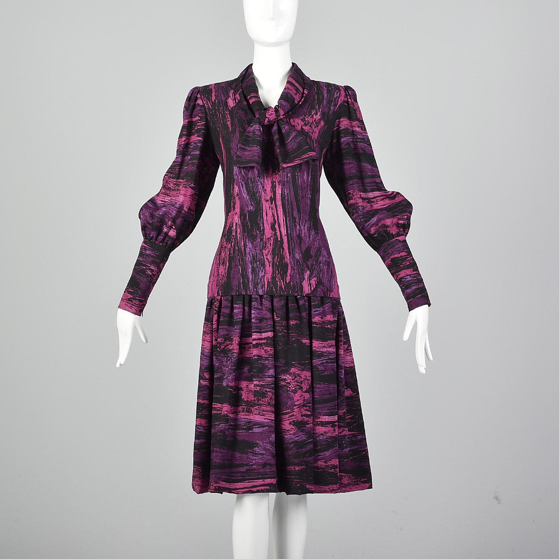 Medium Pauline Trigere 1980s Drop Waist Dress Vin… - image 3