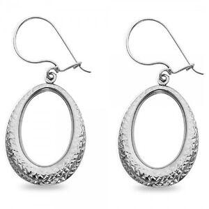 5b0e458fe8914 Details about Oval Teardrop Dangle Earrings Solid 14k White Gold Open  Hollow Diamond Cut