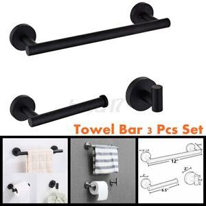 3pcs Towel Rail Rack Bar Stainless Steel Shelf Wall Paper Holder Bathroom Hook