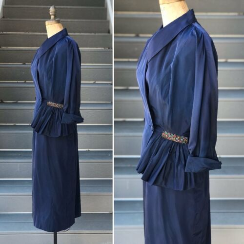 Vintage 1940s Navy Taffeta Suit *SET* + Rainbow De