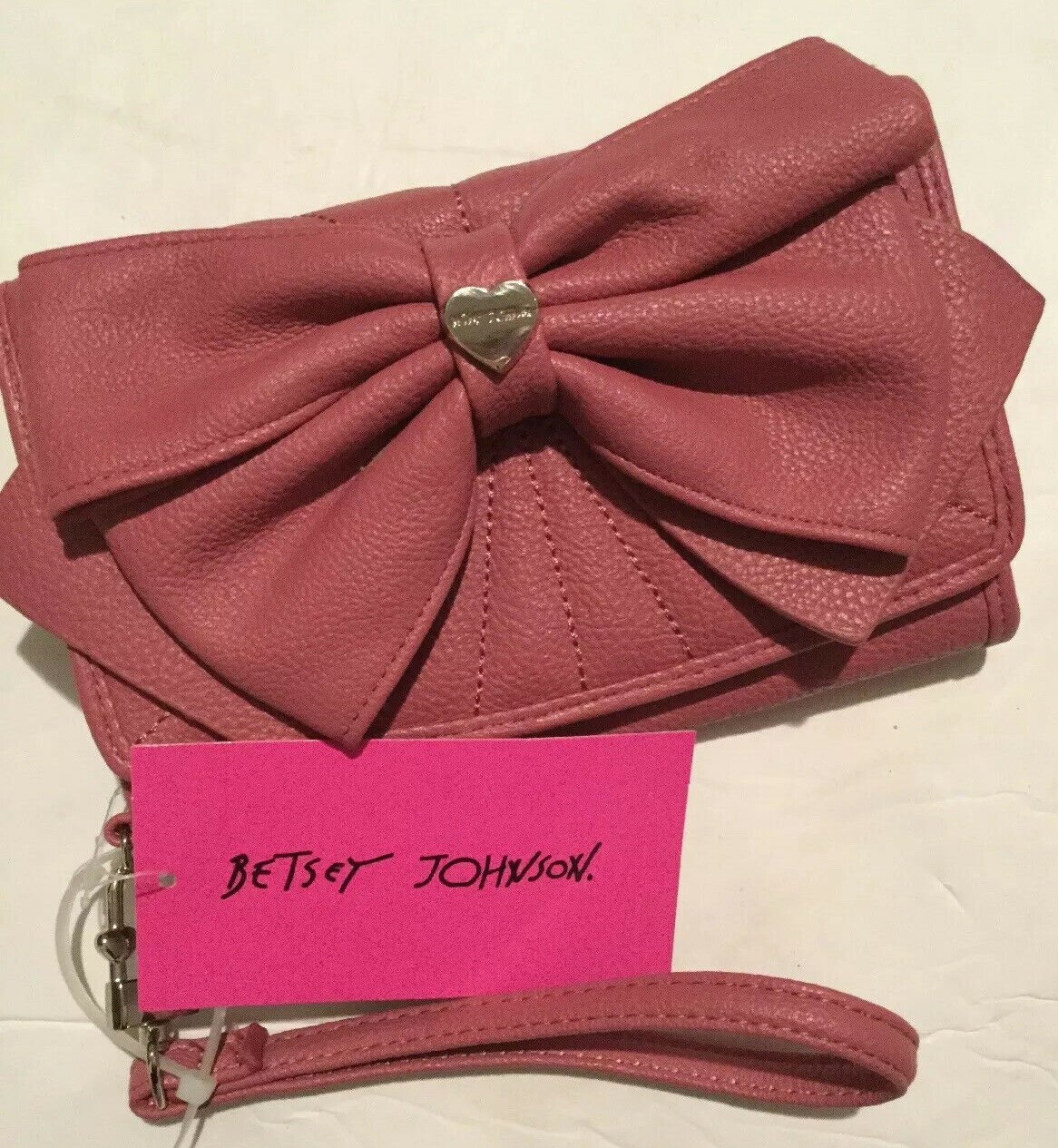 Betsey Johnson Womens Pink Flap Bow Checkbook Wallet Wristlet Silver BBS0165