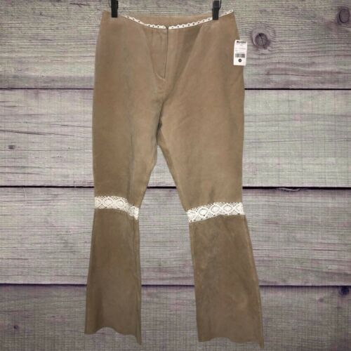 Wilsons Leather Tan Pants Crochet Flare Bell Botto