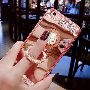 Diamond-Mirror-Bling-Rhinestone-Finger-Ring-Cover-Case-for-iPhone-XR-amp-Samsung-S9
