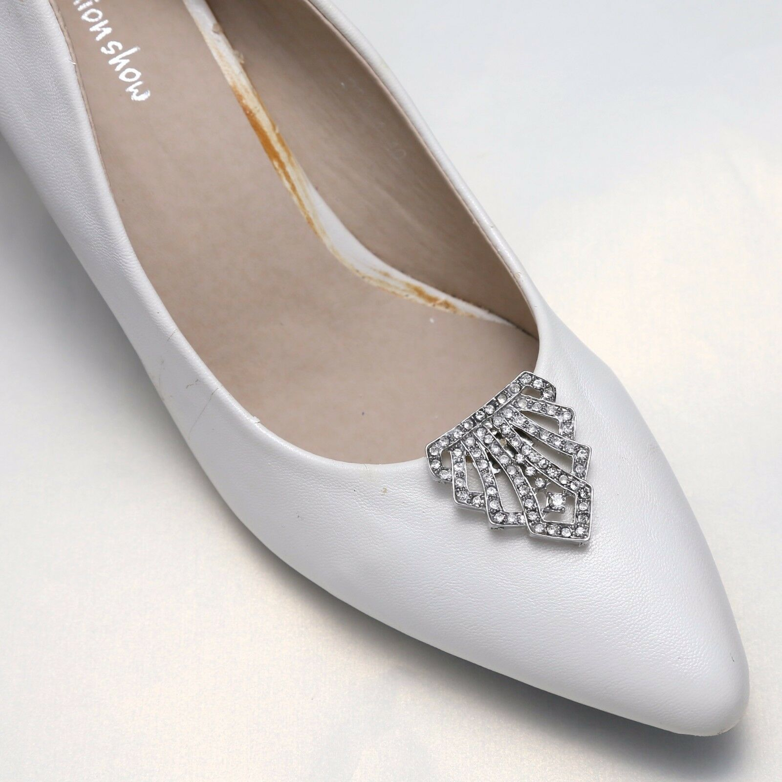 Vintage Style Motif Diamante Rhinestone Wedding Bridal High Heel Shoe Clips Pair