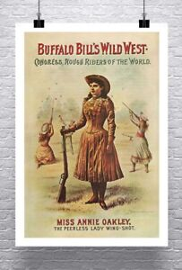 Annie-Oakley-Vintage-Wild-West-Show-Poster-Rolled-Canvas-Giclee-Print-24x36-in