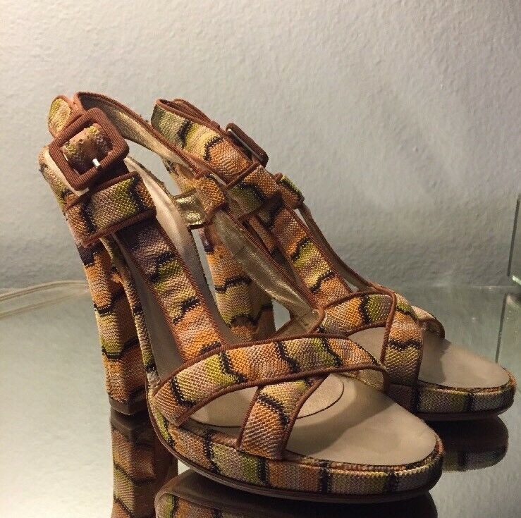 Missoni Damenschuhe Schuhes Größe 37 1/2 Braun TextuROT Slingback Pumps Heels