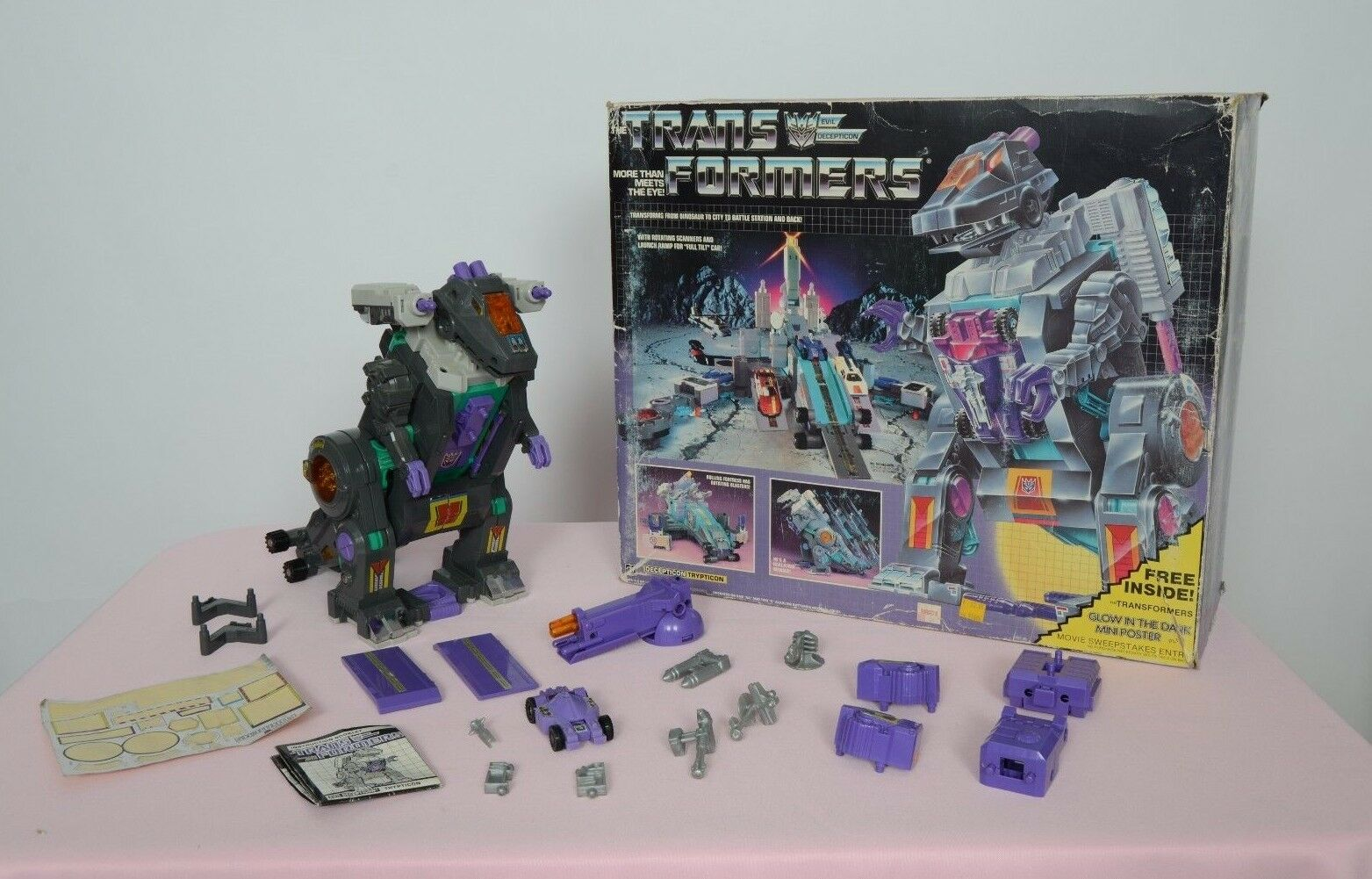 Vintage Transformers G1 Trypticon Base w Box Complete Hasbro 1986
