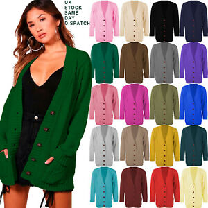 Womens-Ladies-Chunky-Cable-Knit-Cardigan-Button-Long-Sleeves-Grandad-Plus-Sizes