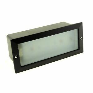 LED OUTDOOR GARDEN RECESSED BRICK WALL LIGHT MODERN BLACK IP54 SUPER BRIGHT