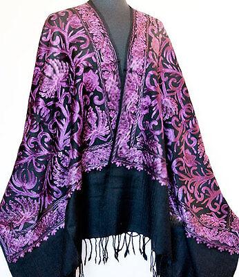 Darkly Beautiful. Purple, Crewel Embroidery on Black Wool Shawl. Ari Embroidered