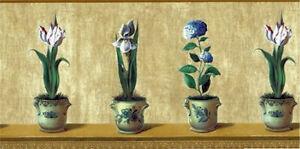 Tulip-Iris-Hydrangea-in-Blue-and-Cream-Floral-Pots-JD1144B