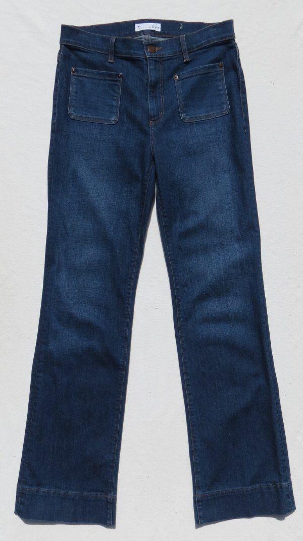 Ann Taylor LOFT bluee Stretch Denim Retro Wide Leg Trouser High Waist Jeans 28 6