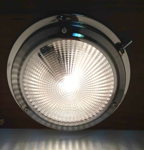 "Pactrade Marine Boat RV Car 4/"" Lens Dome Ceiling Light 12 V 12 W Bulb S.S 304"