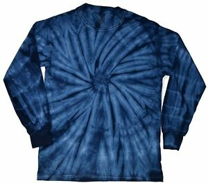 Light Blue Long Sleeve Tie Dye T-Shirt Adult S M L XL XXL XXXL Cotton Colortone
