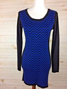 Xhilaration-Women-039-s-black-amp-blue-striped-long-sleeve-knit-dress-Sz-M