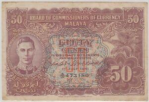 Mazuma *M1241 Malaya 1941 KGVI 50 Cents A/30 473180 AEF