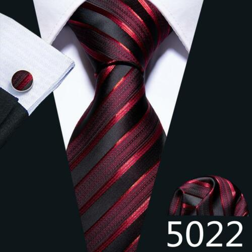 USA Mens Wedding Ties Silk Red Burgundy Tie Set Striped Solid Paisley Necktie