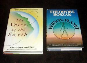 2-Book-Theodore-Roszak-VOICE-OF-EARTH-COSMOLOGY-ECOLOGY-PSYCHOLOGY-Environmental
