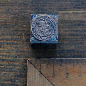 Kupferklischee-034-SIEGEL-VON-ILLINOIS-1818-034-Bleisatz-Druckstock-Klischee-Galvano