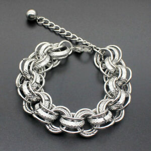 Men-Punk-Stainless-Steel-Curb-Figaro-Chain-Wristband-Clasp-Cuff-Bangle-Bracelet