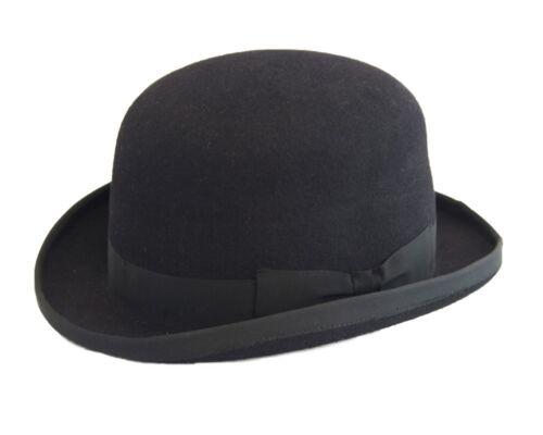 Mens Ladies100/% Wool Hand Made Hard Bowler Hat Black 4 sizes