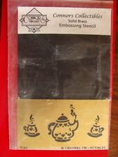 Connors Embossing Stencil Solid Brass Coffee Tea Pot Cups NEW