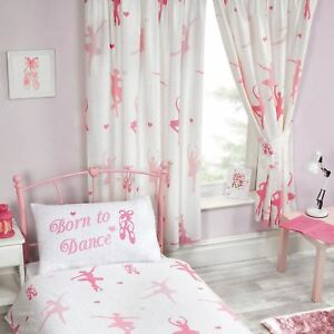 Born To Dance Ballerina Lined Curtains Bedroom Pink