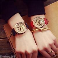 Lovers Watch Women Men Stainless Steel Leather Strap Quartz Analog Wrist Watch