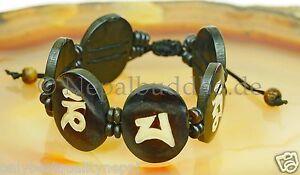 Bracelet Black White Buddhism Compassion Mantra Handmade Buffalo Horn Nepal s21