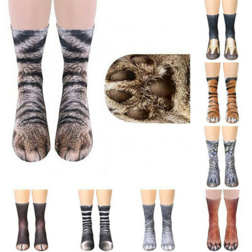 2 Paar Unisex Erwachsene Nette Fun Socken 3D-Druck Tierpfote Schaftssocken