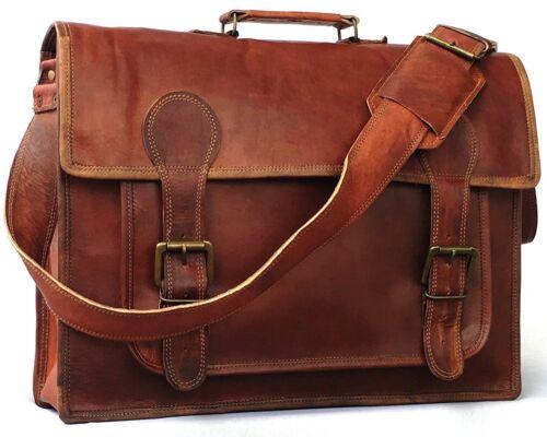 """18/"""" Vintage Briefcase Satchel Soft Leather Laptop bag Messenger Bag Shoulder Men"""