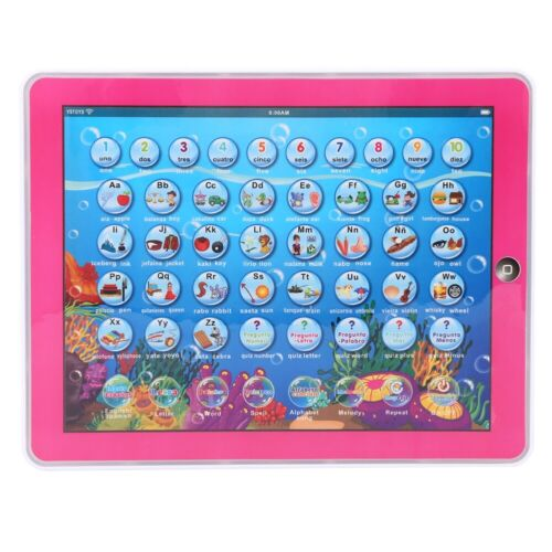 Mini English Spanish Study Learning Pad Touch Voice Educational Gift Kids Toy US