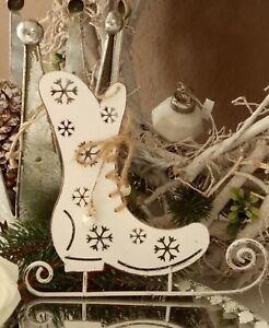 Schlittschuh-Metall-Weiss-Weihnachten-Christmas-Shabby-Vintage-Landhaus-Deko-20c