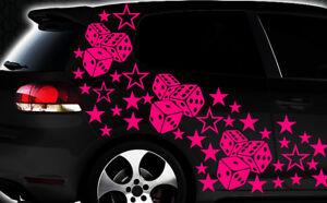 93-PIEZAS-ESTRELLAS-DADOS-CUBE-STAR-coche-pegatina-tuning-Wandtattoo-flores-XX1