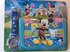 Childrens Kids Boys Blue Mickey Mouse Donald Duck Goofy Wallet & Watch Set 2