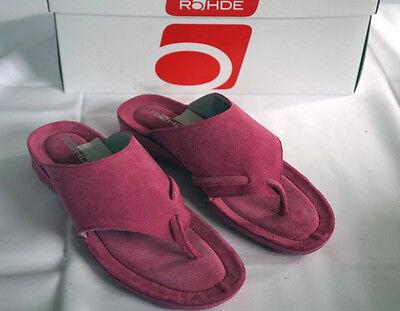 Rohde Zehentrenner Pantolette Leder Gr. 39 Pink Weiches Fußbett