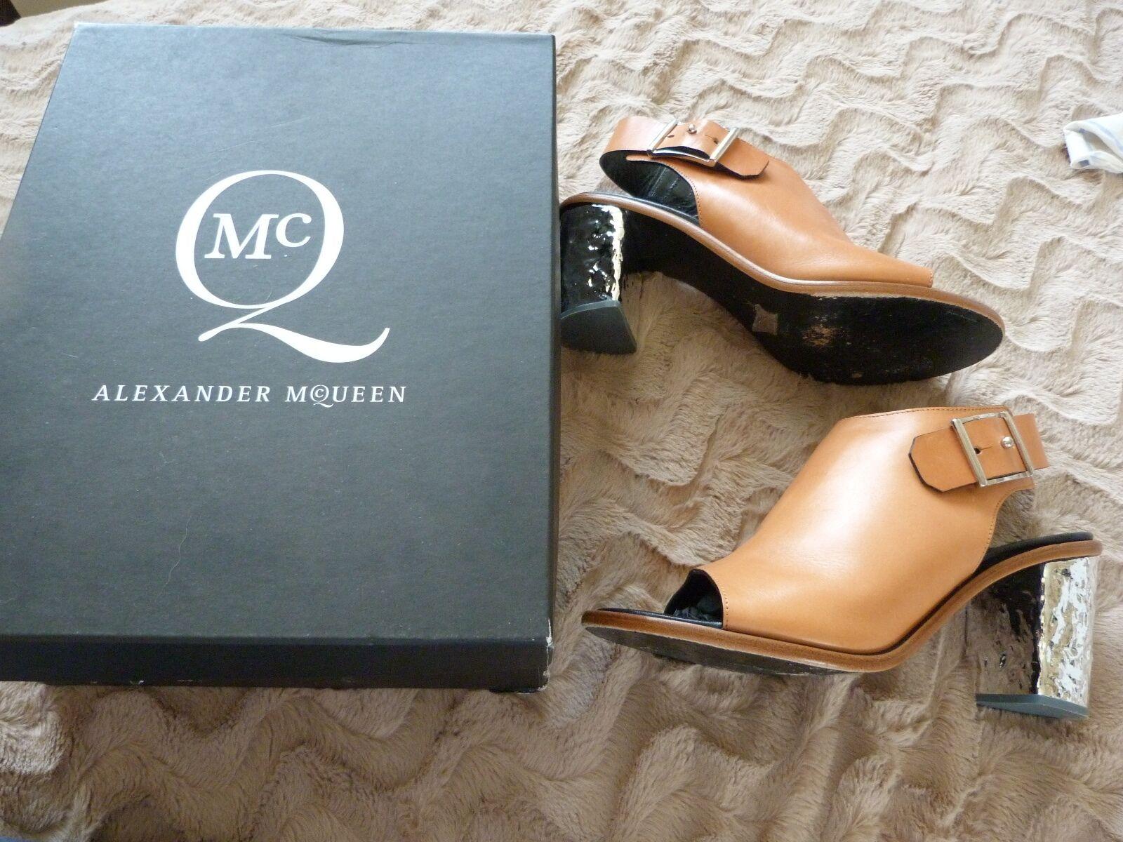 ALEXANDER McQUEEN TAN LEATHER UNUSUAL HEEL SANDALS / Schuhe .. UK 7  EU 40  US 9