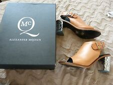 ALEXANDER McQUEEN TAN LEATHER UNUSUAL HEEL SANDALS / SHOES .. UK 7  EU 40  US 9