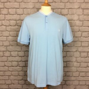 FRED-PERRY-MENS-UK-L-BLUE-SLIM-FIT-TWIN-TIPPED-GRANDAD-COLLAR-POLO-SHIRT-SUMMER