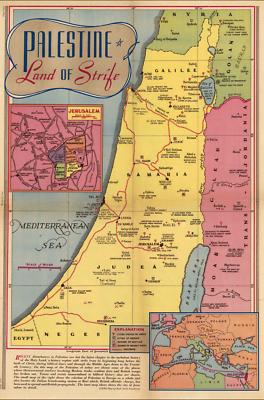 Extreme Definition PDF Land of Strife Antique Map 1936 Palestine