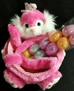 Hot-Pink-Plush-Stuffed-Easter-Bunny-Rabbit-Basket-10-Plastic-Refill-Easter-Eggs