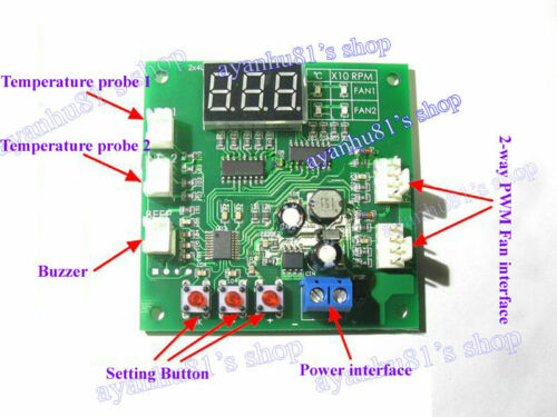 DC12 24V 48V 2 Way 4 Wire Computer PWM Temperature Control Fan Speed Controller