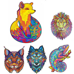 Wooden Jigsaw Puzzles Unique Animal Jigsaw Pieces Best Gift for Kids